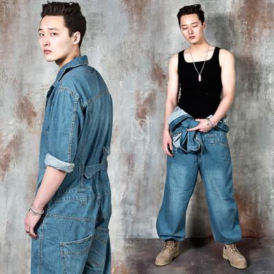 Washed blue denim wide jumpsuit