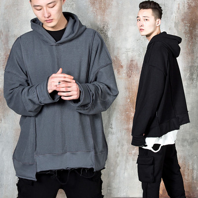 Inside-out stitch line unbalanced hoodie