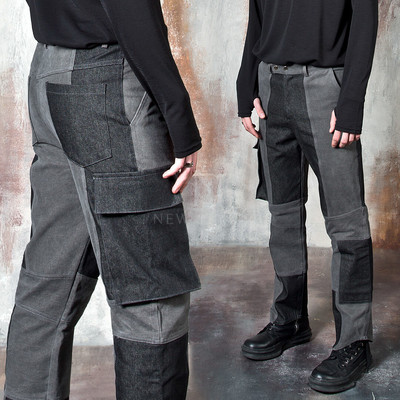 Contrast cargo pocket denim jeans