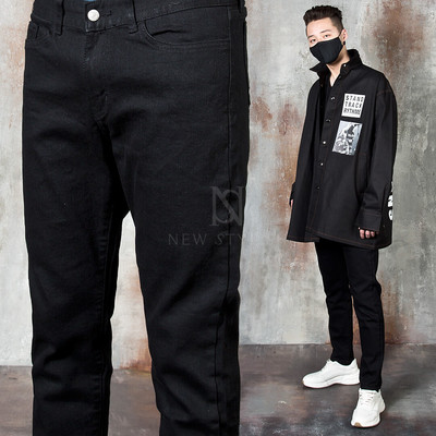 Plain black cotton jeans
