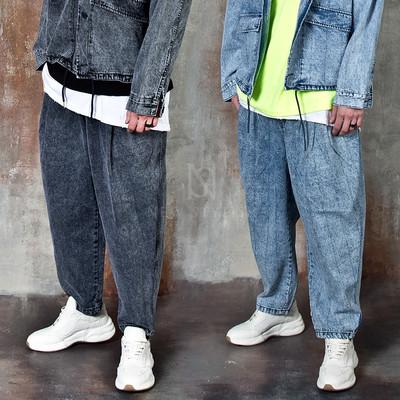 Washed denim baggy jeans