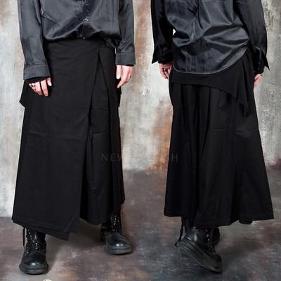 Avant-garde wrap skirt wide pants