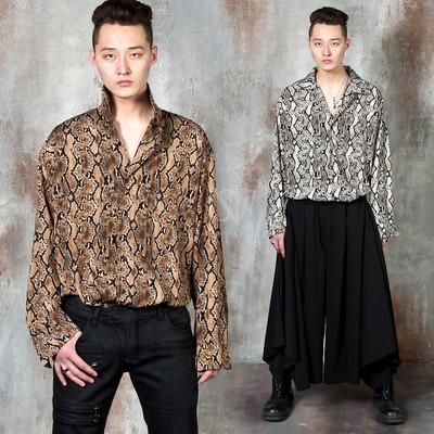 Snake pattern loose fit silky shirts