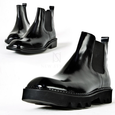 Glossy black square toe chelsea boots