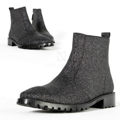 Sparkling glitter leather ankle boots