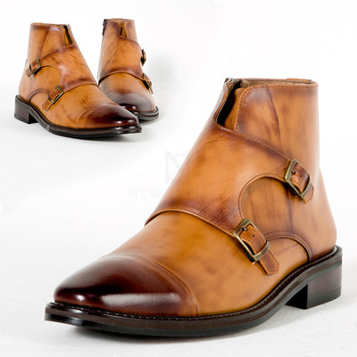 Double monk strap wood tone leather ankle boots