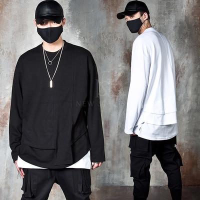 Double layered round hem long sleeve t-shirts
