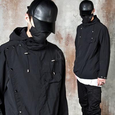 Multiple buttons hooded wind-breaker jacket