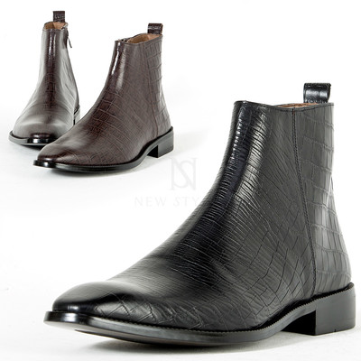 Crocodile patterned leather ankle boots