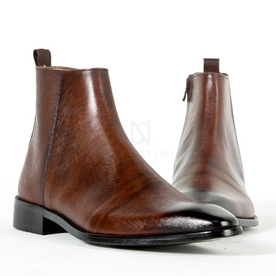 Wood brown leather ankle boots