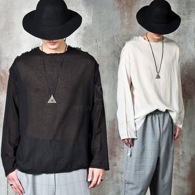 Avant-garde distressed long sleeve linen t-shirts
