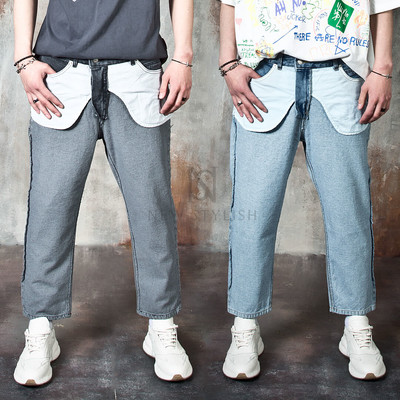 Inside-out baggy straight jeans