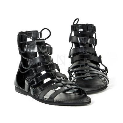 All black leather gladiator sandal