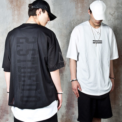 Contrast lined round hem mesh t-shirts