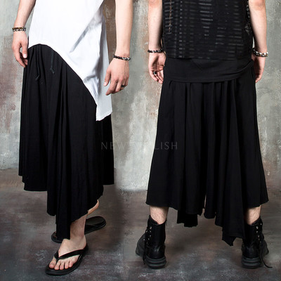 Avant-garde asymmetric hem wide drape pants