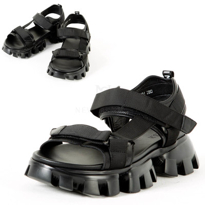 Chunky outsole hook and loop black sandal