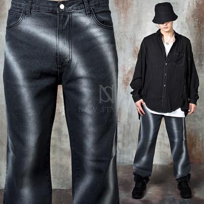 Wave shape washed wide fit denim jeans