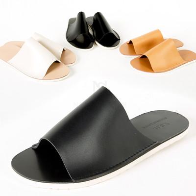 Flat leather slide slipper