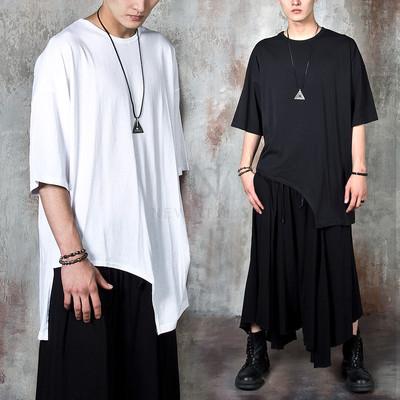 Asymmetric bow-hem long t-shirts