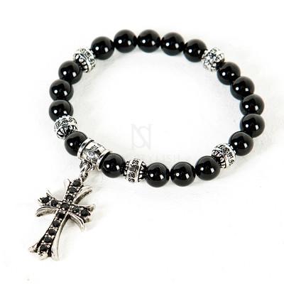 Cubic metal cross charm beads bracelet