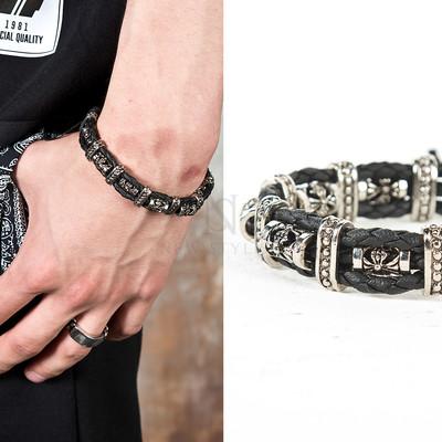 Metal contrast braided leather bracelet