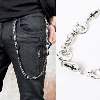Cross coffin & handcuff metal pants chain