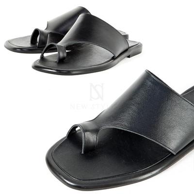 Black leather toe slide slipper