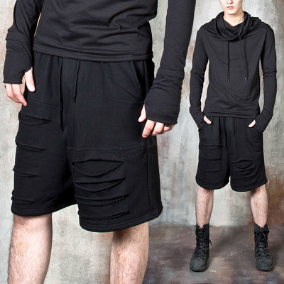 Distressed laser cut black shorts