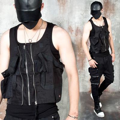 Mutilple pocket techwear zip-up vest