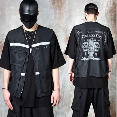See-thru mesh back techwear zip-up vest