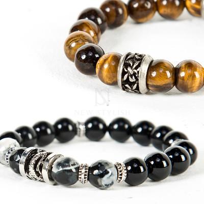 Engraved oriental beads bracelet