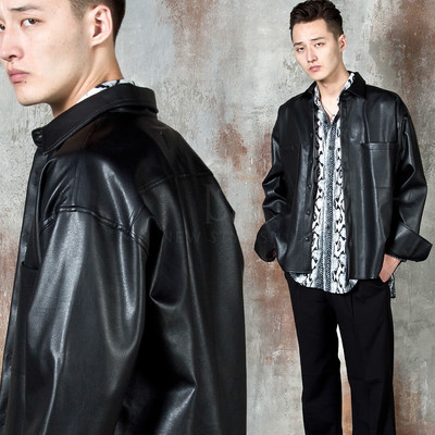 Wide cuff leather shirt jacket