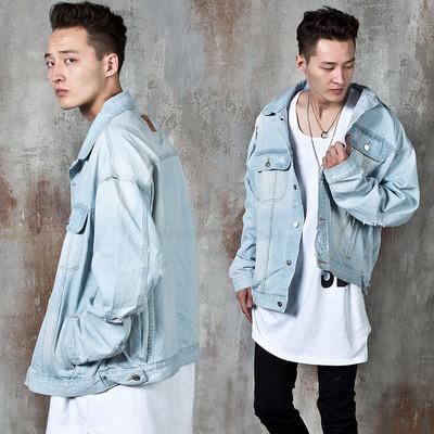 Distressed light blue denim jacket