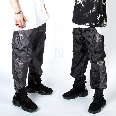 Side leopard cargo jogger pants