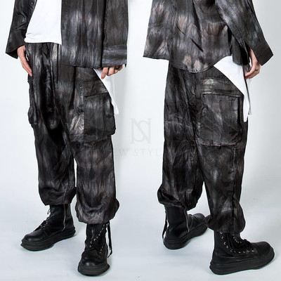 Tie-dye satin baggy wide cargo pants