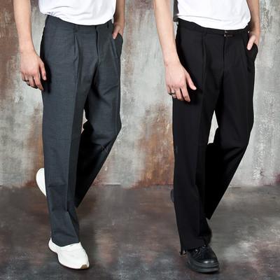Simple pleated wide pants