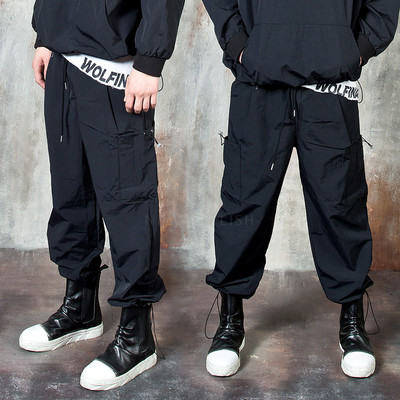 String baggy banded pants