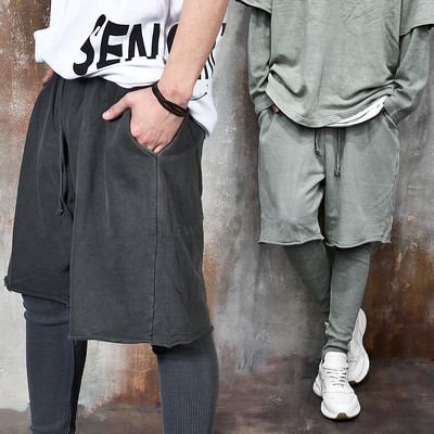 Layered distressed hem loose fit pants
