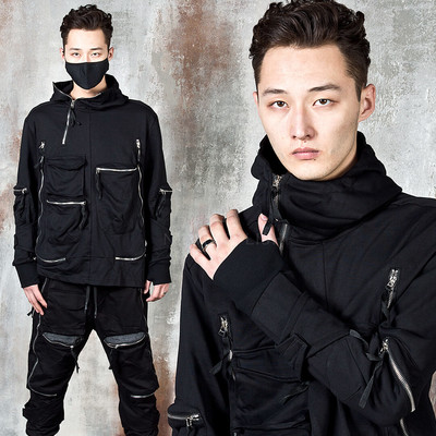 Multiple zipper pocket arm-warmer turtleneck hoodie