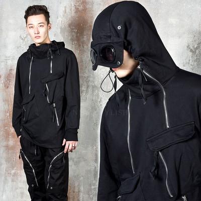 Zipper accent arm warmer goggle hoodie