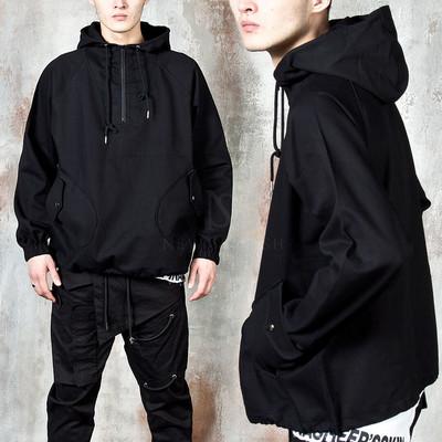 Snap pocket denim anorak hoodie