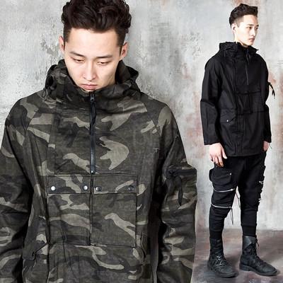 Goggle hooded diagonal zip-up jacket