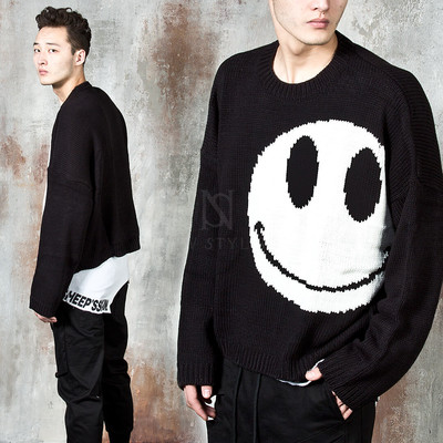 Smile loose fit crop knit sweater