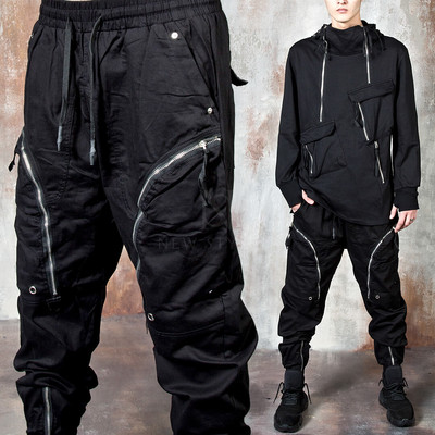 Curved zipper banded pants