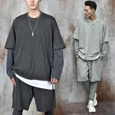 Layered distressed hem loose fit sweatshirts
