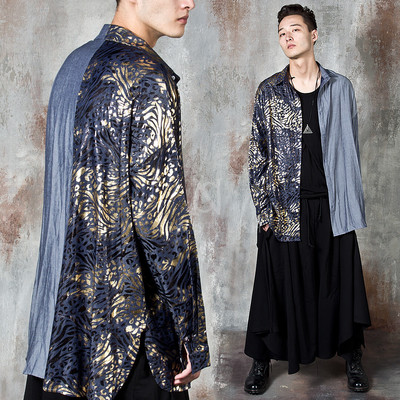 Gold contrast oriental patterned long shirts