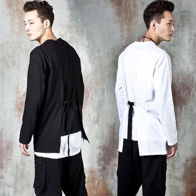 Belted strap unbalanced long sleeve t-shirts