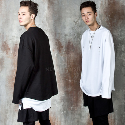 Seam line accent long sleeve t-shirts