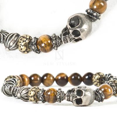 Skull charm oriental beads bracelet