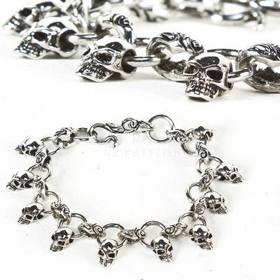Multiple mini skull charm chain bracelet